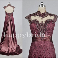 Long Wine Red See Through Prom Dresses Sexy Open Back Party Dresses Evening Dresses 2014 Formal Party Occasions