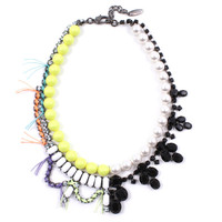 Split Personality Crystal Necklace W/ Threads & Pearls - Jet/ White/ Yellow