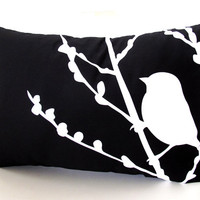Black Bird on Cherry Blossom Pillow