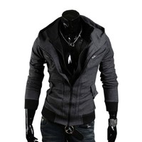 Men Assassins Creed III Slim Fit Hoodie Casual Outwear M,DarkGray