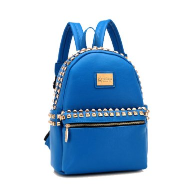 Casual Fashion Unisex Logo Rivets Zipper School Travelling Bag Backpack