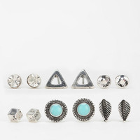 Boho Stud Earring Set- Silver One Size- Silver One