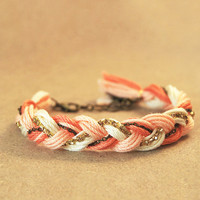 Coral bracelet, friendship bracelet with rhinestones and chain, braided bracelet, peach bracelet