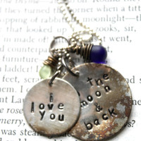 """SALE--Valentines Gift-- Hand Stamped, Sterling Silver, """"I Love You To The Moon And Back"""" Necklace, Birthday, Anniversary, Engagement Gift"""