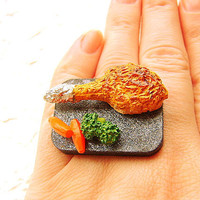 Kawaii Food Ring Chicken Broccoli Carrots by SouZouCreations
