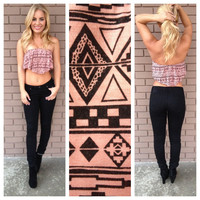 Neon Coral Aztec Crop Top