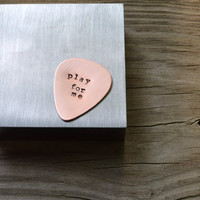 Custom Guitar Pick - Metal Stamping - Copper - Personalized - Guys Gift - Under 20 - For Him - For Dad - Music - Musicians