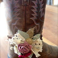 Boot Bands with Hand Made Fabric Rose Flowers Vintage Buttons, Lace and Burlap Boot Bling Boot Bracelets, Wrap Bracelet