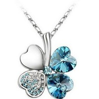 Beautiful 18K 4 Leaf Lucky Clover Blue Swarovski Crystal Necklace