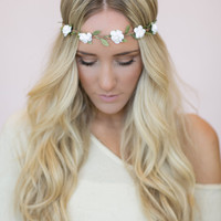 Flower Crown, White Rose Headband, Wedding Festival Hair Bands, Women's Fashion Hair Accessories (HB-19)