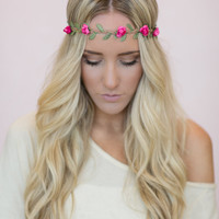 Flower Crown, Wedding Headband, Music Festival Bohemian Hair Band in Fuchsia Bride's Hair for Wedding Headband Stretchy Crown (HB-17)