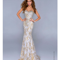(PRE-ORDER) Nina Canacci 2014 Prom Dresses - Gold Embellished Organza Mermaid Prom Gown