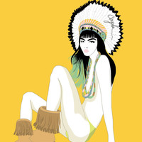 Sitting Bull Native American Girl, vector illustration, handmade digital painting, art print