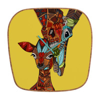 Sharon Turner Giraffe Love Ochre Modern Clock