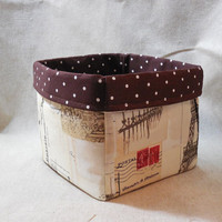 Elegant Paris Postcard Themed Fabric Basket