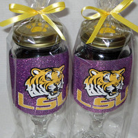 Purple Glitter LSU Redneck Wine Sippin Glasses