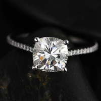Marcelle Medio Size 14kt White Gold Cushion FB Moissanite and Diamonds Cathedral Engagement Ring (Other metals and stone options available)