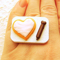 Kawaii Cookie Ring Food Miniature Food Jewelry by SouZouCreations