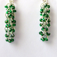 Shaggy Loops Earrings, Green Beaded Earrings, Chainmaille Earrings, Chain Maille, Dangle Earrings, Chandelier Earrings