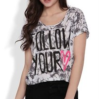 Short Sleeve Dolman Top with Tie Dye and Follow Your Heart Screen