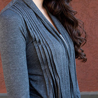 Open Front Pleated Cardigan