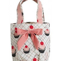 Cherry Cupcakes Lunch Tote Bag with Bow