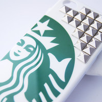 Silver Studded Starbucks Inspired Hard Iphone 4 4s with Studs Cell Phone Case