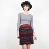 Vintage Mini Skirt Southwestern Striped Skirt Wrap Skirt Mexican Blanket Skirt Navy Burgundy Green Ethnic Boho Indian Blanket Skirt S Small