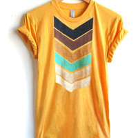 Geo Arrows Crew Neck Hand Stenciled Slouchy Rolled Cuffs Womens Tee in Heather Gold - S M L XL 2XL 3XL