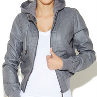 Fleece Hooded Bomber Jacket | Wet Seal