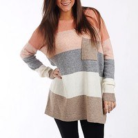 ColorBlock Pocket Sweater,Salmn