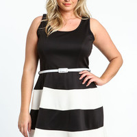 PLUS SIZE MOD STRIPED SKATER DRESS