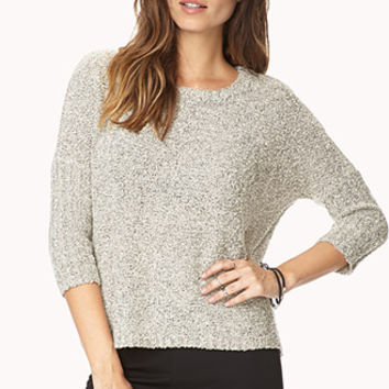 FOREVER 21 White Noise Textured Knit Cream/Black