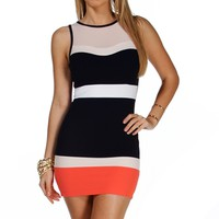 NvyWhtCrl Colorblock Sleeveless Dress