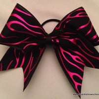 Pink Flames Large Cheer Bow Hair Bow Cheerleading