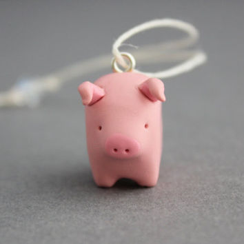 hanging pig ornament pig decoration polymer clay pig figurine miniature