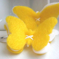 Lemon Meringue Felt Butterfly Hair Clips  Snap Clip  by SweetPB