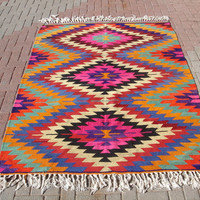 VINTAGE Turkish Kilim Rug Carpet, Handwoven Kilim Rug, Antique Kilim Rug,Decorative Kilim, Natural Wool 64,5'' X 90 ''