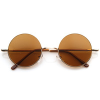 Retro Hippie Fashion Metal Lennon Round Sunglasses Color Lens 8594