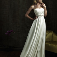 2011 Allure Bridal - Free-Flowing Strapless Crystal Applique Gown- 2 to 32 - Unique Vintage - Bridesmaid &amp; Wedding Dresses