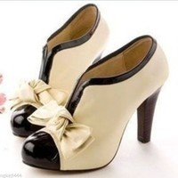 WOMEN SEXY HIGH HEEL BEIGE TIE FASHION ANKLE SHOES BOOTS