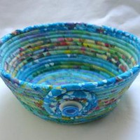Azure Blue Coiled Fabric Bowl