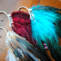 Feather Ear Wrap -- Feather Ear Cuff -- Boho Chic -- Feather Jewelry -- Red Feathers -- Blue Feathers -- Natural Feathers --