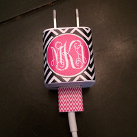 iphone or ipod Vine Monogram Charger and USB Wrap - Tight Chevron - Customizable