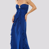 MIGNON 2011 Prom Dresses-Royal Blue Vintage Style Ruffle Gown With Brooch - Unique Vintage - Bridesmaid &amp; Wedding Dresses