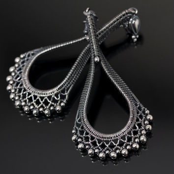 Fine Silver Chandelier Earrings - Ruffles and Lace