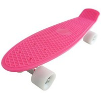 Welcomeget Pk Complete Standard Skateboard Retro Style Banana Board Pink Deck with Selectable Wheel Colors (white wheels)