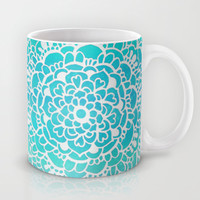 Aqua Turquoise Sparkle - Doodle pattern with aqua galaxy / sparkle  Mug by Tangerine-Tane