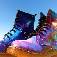 Sale REALLY LEATHER Purple Galaxy Print nebula space hand painted Dr Marten style Shoes, made to order