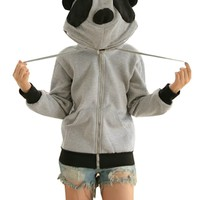 CA Fashion Women's Panda Ears Hoodie Outerwear Jacket Sweatshirt